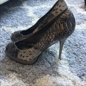 Snakeskin Print Open Toe Pumps